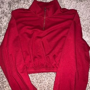 Cropped red quarter zip